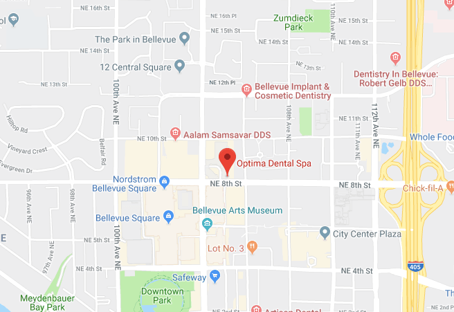 Screenshot of a Google maps showing the new dental office of Optima Dental Spa in Bellevue