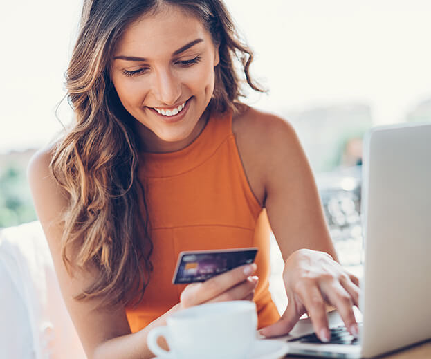 woman paying a bill online