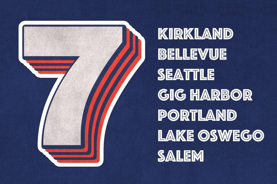 The number 7 next to the Optima Dental Spa locations: Kirkland, Bellevue, Seattle, Gig Harbor, Portland, Lake Oswego, Salem